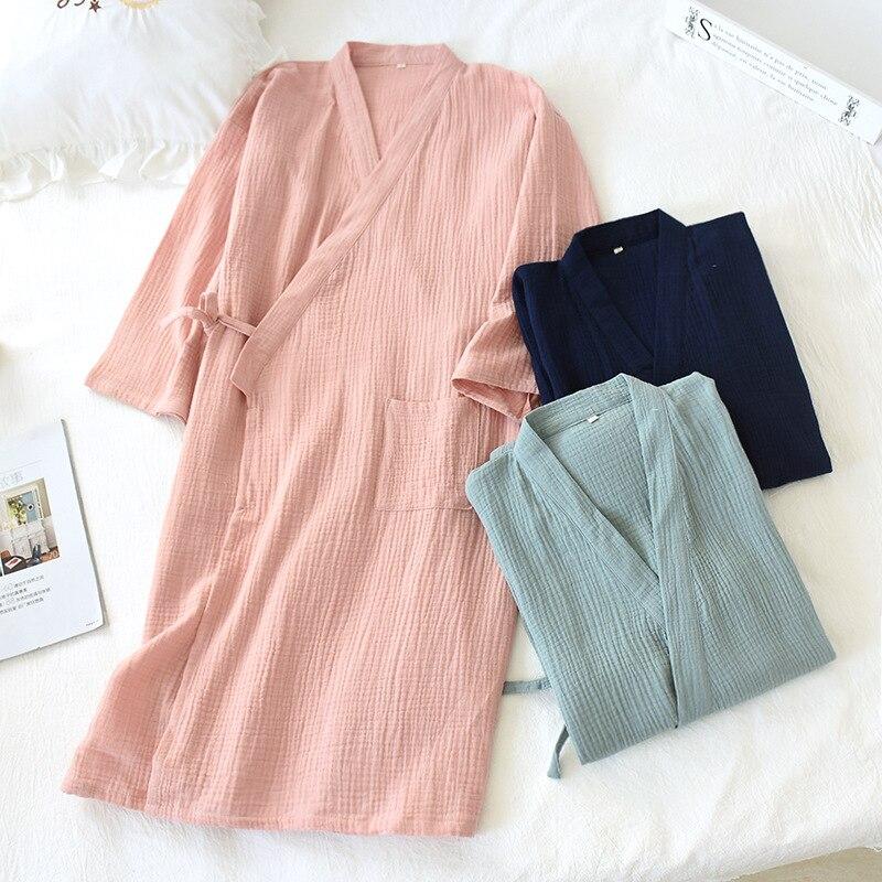 2020 Japanese-style kimono spring and summer new 100% cotton crepe ladies thin nightgown men bathrobe robe home service pajamas