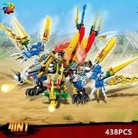438pcs 4 in 1 ninja dragons knight swordsman model figures building blocks kids toys bricks gift for children boys