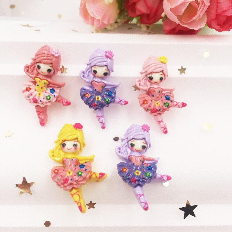 Figuras de resina Kawaii mixtas de colores para bailarinas, piedra de cabujón con reverso plano, 10 Uds., decoración DIY para álbum de recortes, artesanías para el hogar