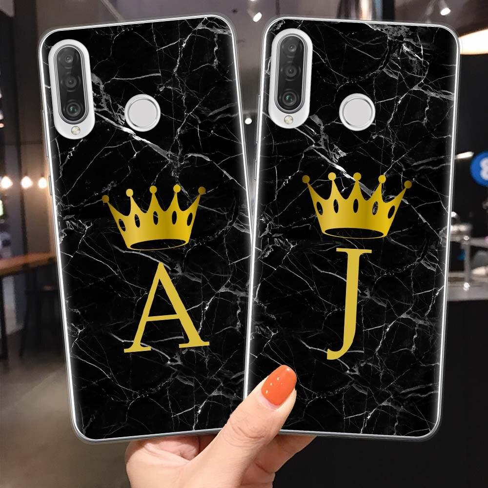Personalizado nombre letra Monogram negro mármol oro corona suave funda de teléfono para Coque Huawei P30 P20 P10 Lite Pro P30Lite P20Lite