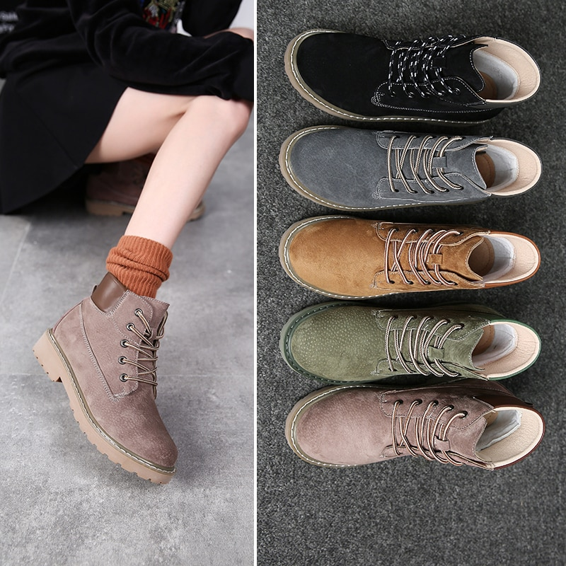 motorcycle platform boots women wedge shoes autumn winter fur fashion round toe lace up suede leather boots ladies shoes 2020 Women Ankle Boots New Fashion Leather Autumn Black Snow Boots Round Toe Ladies Work Girls Shoes Warm Fur Winter Lace Up
