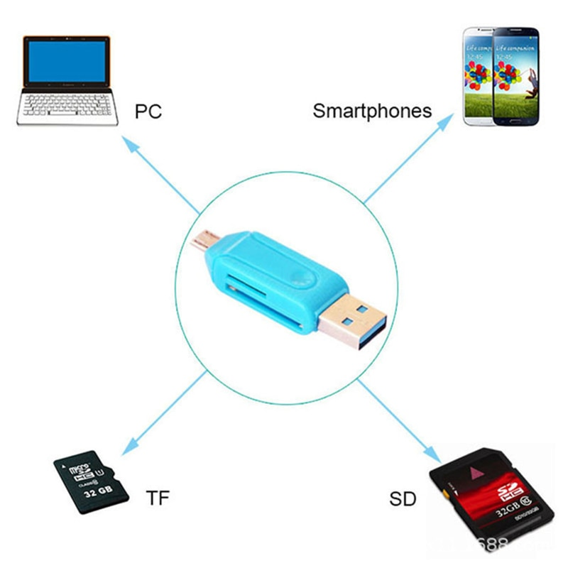 1pc 2 in 1 USB 2.0 OTG Memory Card Reader Adapter Universal Micro USB TF SD Card Reader for PC Phone Computer Laptop