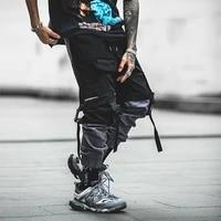 trendy hip hop pants mens multi pocket cargo pants teenagers elastic waist pencil pants with ribbons fashion streetwear