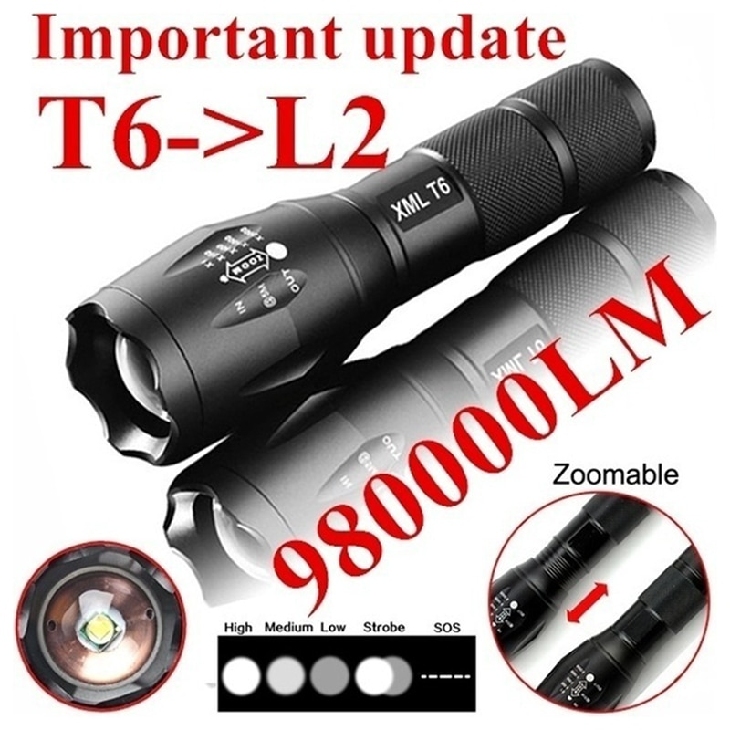 Portable T6 Tactical Military LED Flashlight 980000LM Zoomable 5-Mode Without Battery Outdoor tools