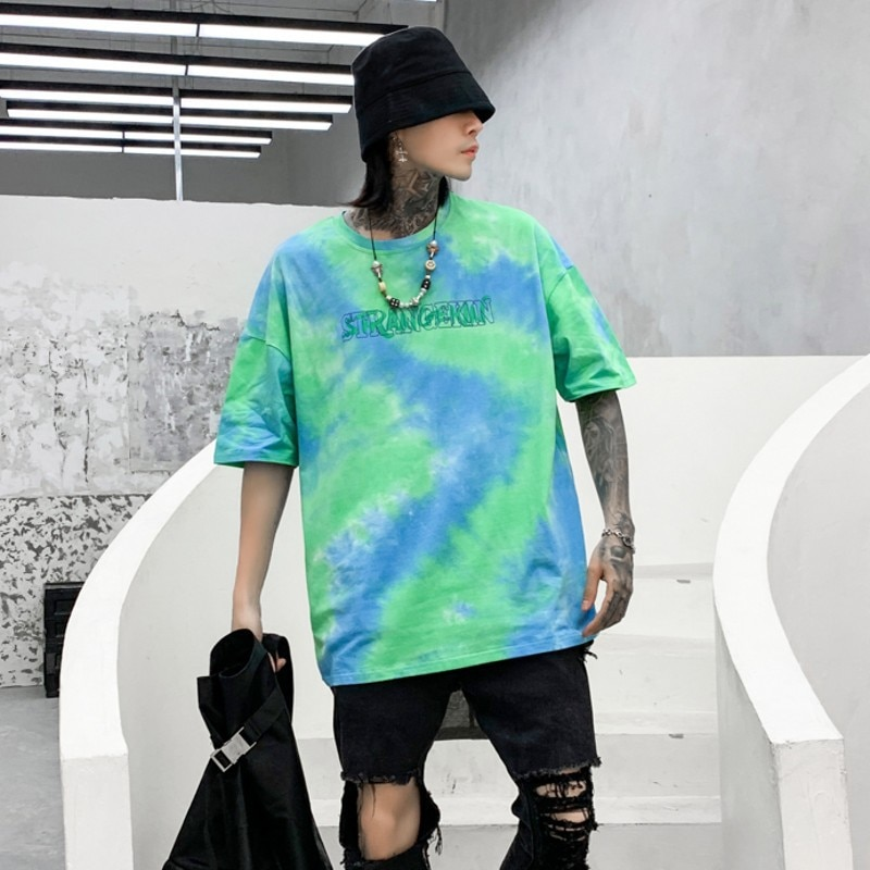 Camiseta para hombre, estampado de letras con tinte de acuarela, estilo Casual, Retro, de calle alta, fina, Harajuku, combina con todo, Estilo de pareja, ropa de calle, SA-8