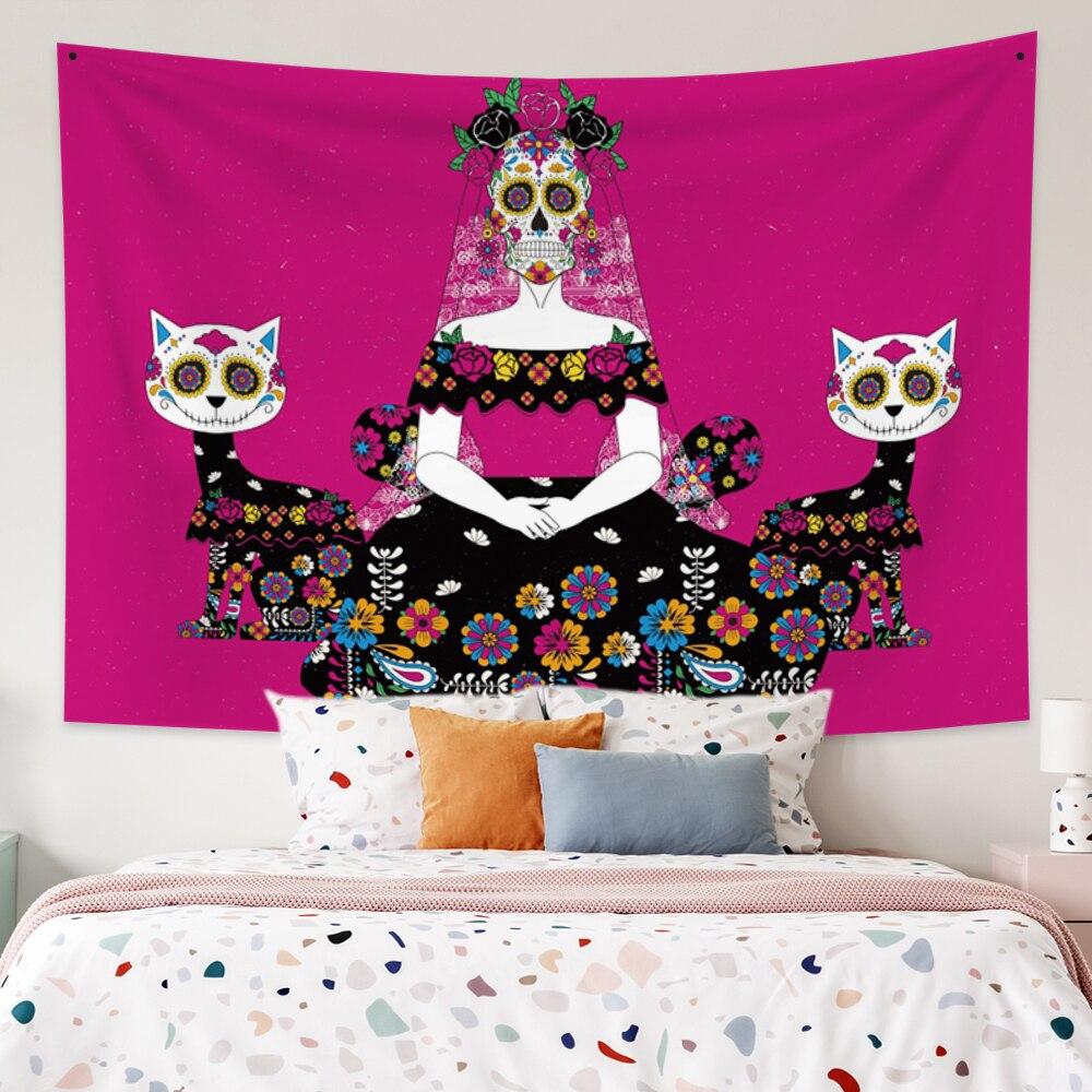 Настенный Гобелен Laeacco Día De Death, праздничное одеяло в стиле хиппи, гобелены для гостиной, домашний декор для спальни, большие размеры
