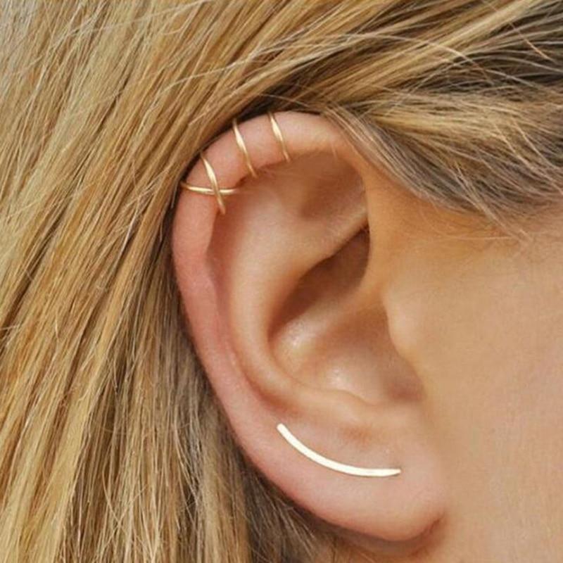 2 kos / komplet punk preprosti uhani za ušesne manšete za ženske - Modni nakit - Fotografija 6
