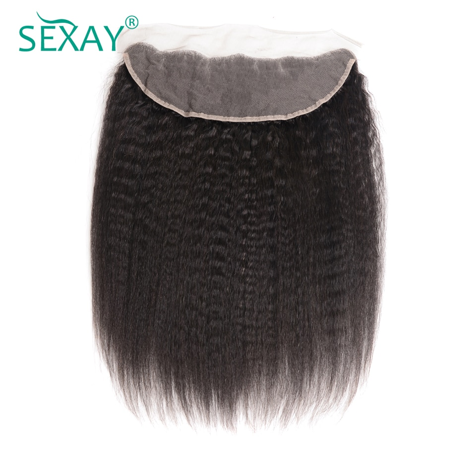 Sexay Kinky Straight Lace Frontal Ear To Ear Closure With Baby Hair 10A Brazilian Remy Human Hair Pre Plucked 13x4 Lace Closures