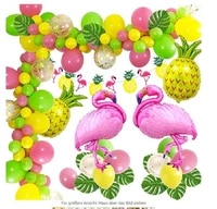 47pcsset tropical flamingo theme hawaiian party decorations banner palm leaves pineapple flamingo decoration balloon garland