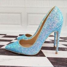 Womens Shoes High Heels High-heeled shoes High-heeled blue shoes 12cm / 10cm / 8cm Sexy heel size 33 34 43