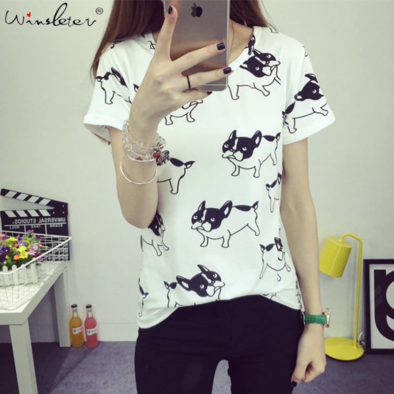 Camiseta de algodão estampada para cachorro, camiseta de algodão para mulheres, estampada com buldogue francês, manga curta, camisetas femininas, branco, rosa, azul t06201w