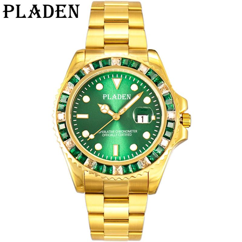 PLADEN Men's Watches Top Brand Luxury Quartz Watches Men Green Stainless Steel Clock 30M Waterproof Shockproof Sport Wrist Watch