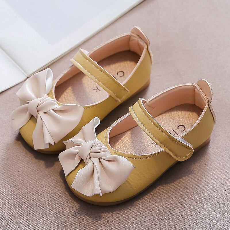 Girls 2021 New Bow-knot Princess Shoes Autumn Children's Artificial Leather Shoes Baby Garden Shoes Soft Sole Non-slip Shoes