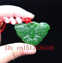Naturel vert Jade jaspe papillon pendentif mode sculpté à la main Nephrite collier attaché lanière Fine bijoux