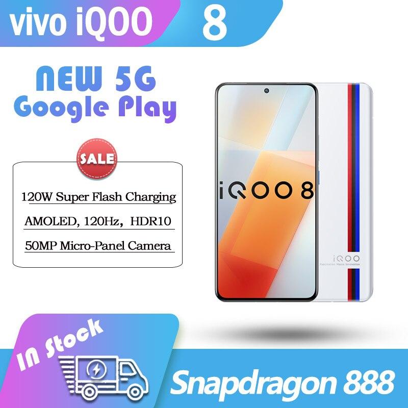 NEW Original Vivo iQOO 8 5G Snapdragon 888 6.56'' 120Hz AMOLED Screen 4350mAh 120W Flash Charge 48MP Camera Google NFC CellPhone