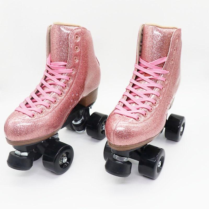 Модные Розовые роликовые коньки из микрофибры, двойная линия, 4 колеса, профессиональные коньки, мужская и женская спортивная обувь с патино...