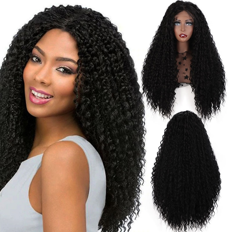 ELEGANT MUSES Synthetic Lace Front Wig Front Lace Natural Black Wig Long Curly Hair With Baby Hair For Black Women