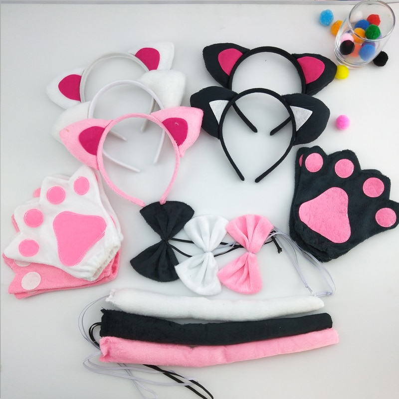 Детская повязка на голову для мальчиков и девочек с рисунком лисы, кошки, хвоста и галстука-бабочки, Рукавицы-лапы, нарядное платье, реквизит для Хэллоуина, карнавальный костюм для костюмированной вечеринки