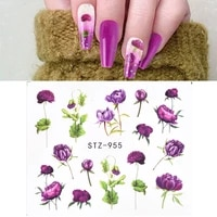 14pcs pink rose nail decoration manicure hot sale nails art design watercolor butterfly 3d sliders water transfer decal sticker