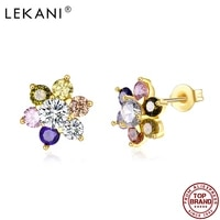 lekani colorful cubic zirconia flower stud earrings for women korean version of cool earring anniversary girl fashion jewelry