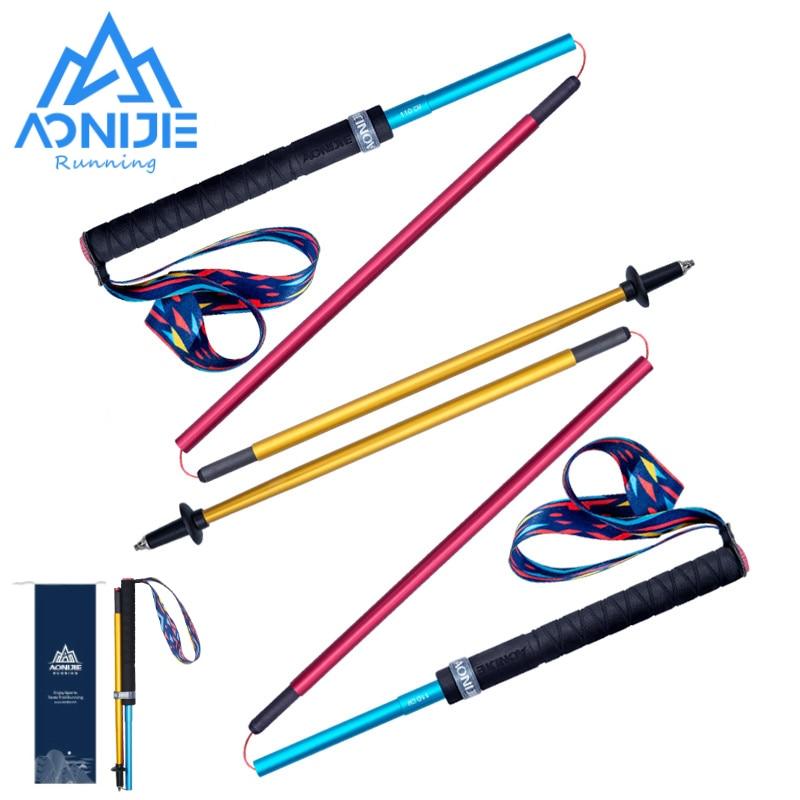 2 قطعة AONIJIE E4201 خفيفة الوزن للطي للطي سريعة قفل ألياف الكربون الرحلات القطب التنزه القطب درب تشغيل عصا للمشي