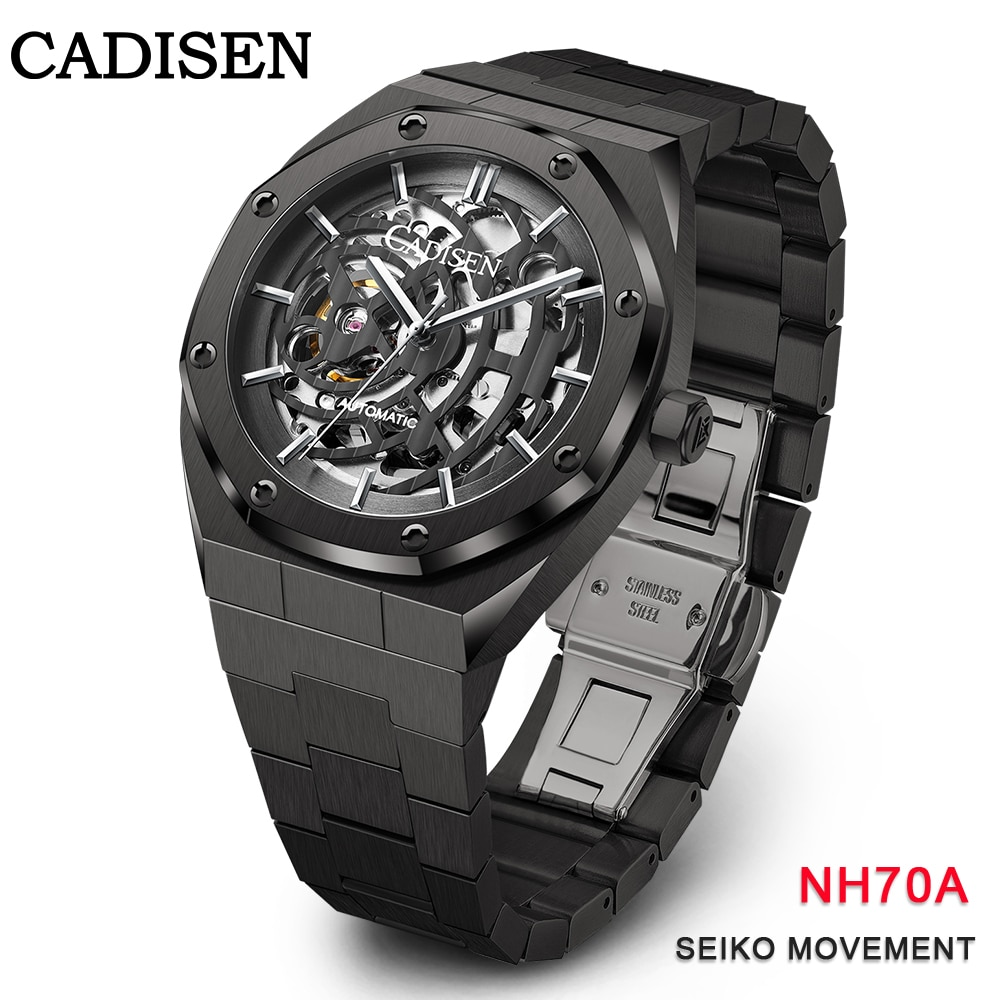 CADISEN Men Watch Automatic Mechanical Luxury Skeleton Sapphire Glass 100M Waterproof Japan Movement Full Steel Wrist