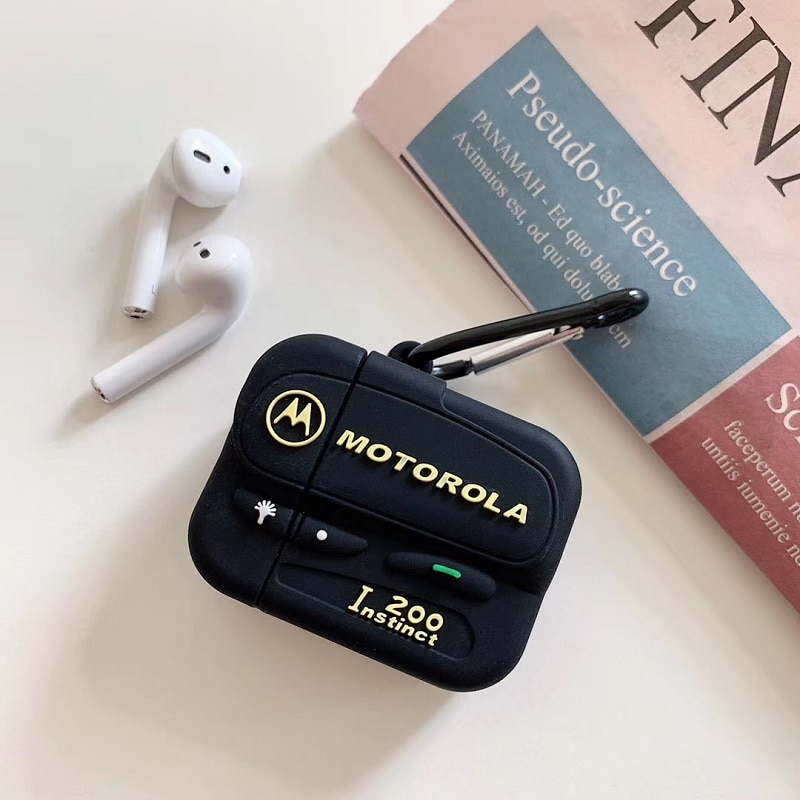 3D silicona vieja escuela negro clásico Beeper auriculares inalámbricos Bluetooth Airpods caja de carga comprar uno conseguir anillo Anti-pérdida