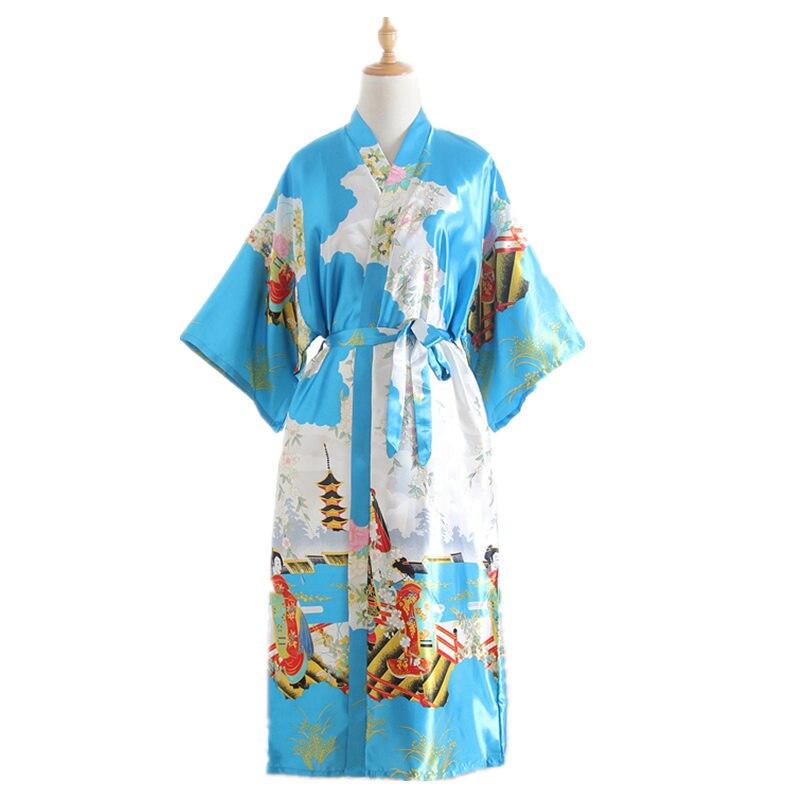 Women Long Sleep Robe V-Neck Nightgown Silk Blend Lounge Bathrobe Plus Size