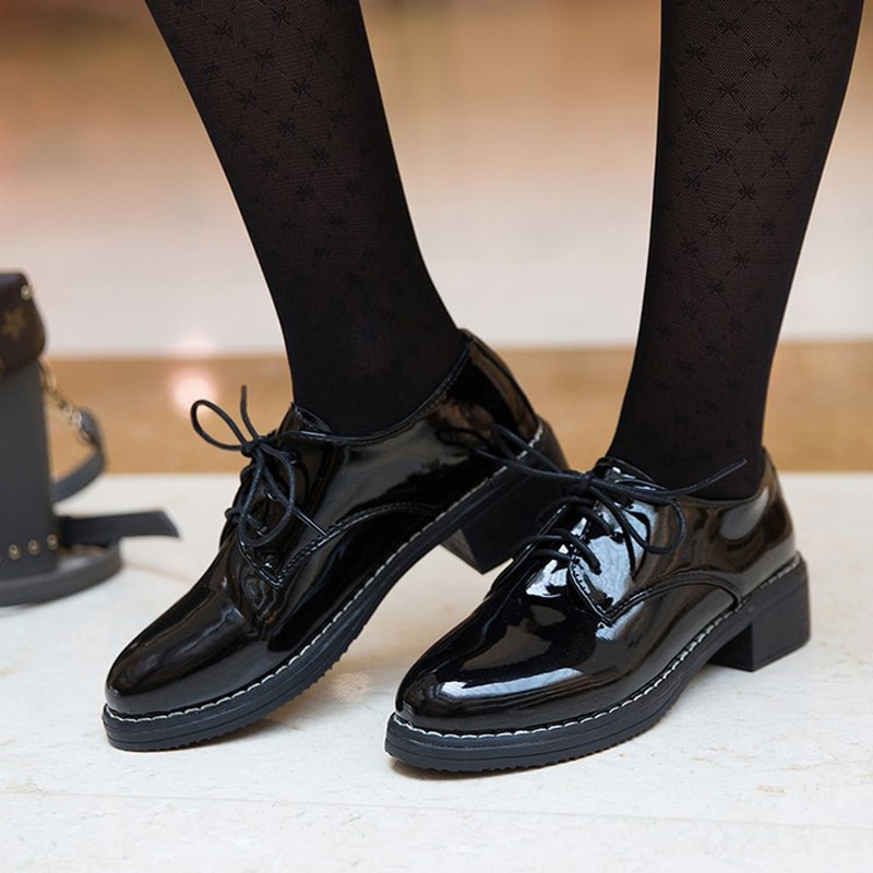 casual british style vintage thick soles platform shoes retro female harajuku lace up flat leather shoes college woven creepers Women Flats New British Style Oxford Shoes Women Casual Lace Up Pu Flats Shoes Female Creepers Zapatos Mujer Ladies Shoes