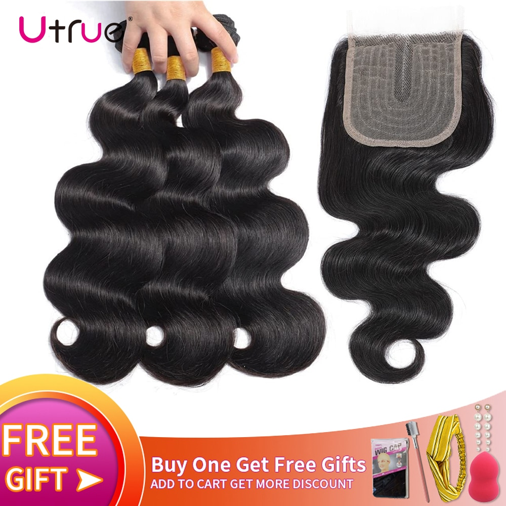 Utrue Malaysian Hair Bundles With Closure Lace T Part Middle Remy Human Hair Closure And Blundles Body Wave
