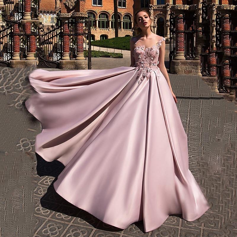 Атласное Бальное платье для выпускного вечера 2020 Robe de soiree, розовое элегантное вечернее платье с цветочной аппликацией, Длинные вечерние пла...