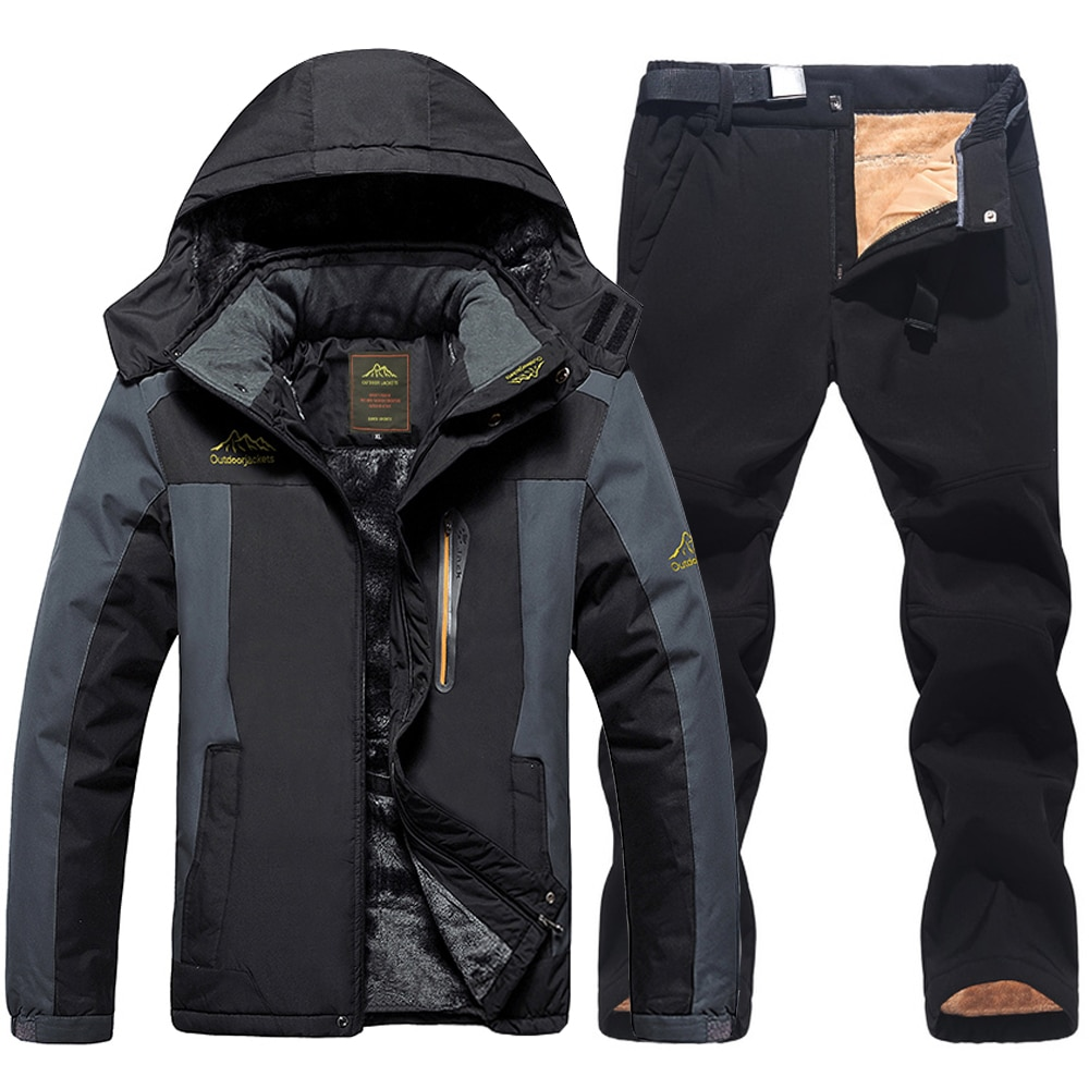 2021 Мужская лыжная куртка лыжные штаны Зимние теплые ветрозащитные водонепроницаемые уличные спортивные Сноубординг лыжный флисовый пальт...