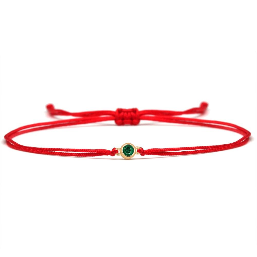 Sparkling Cubic Zirconia Copper Mini Green Stone Round Charm Bracelet Women Girl Black Red String Handmade Adjustable Jewelry