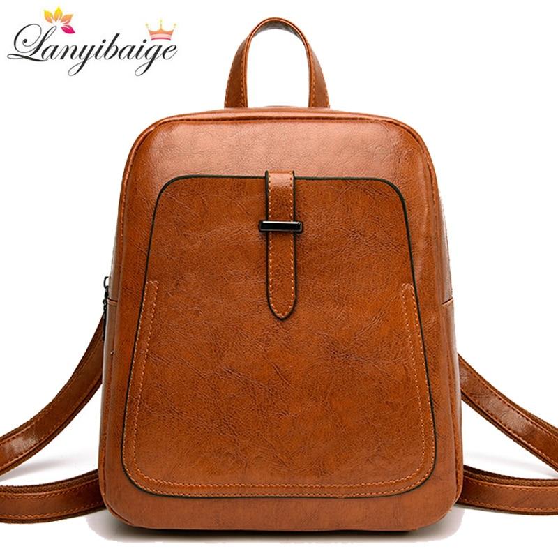2021 New Women Backpacks Ladies Luxurious Shoulder Bag High Quality Leather School Bag For Girls Vintage Female Travel Backpack