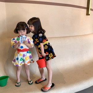 2021 Summer New Kids Suit Cute Floral Puff  Girls Sets Short Sleeve Tees and Loose Shorts Casual 2Pcs for Sisters