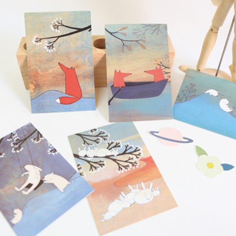 30 tarjetas postales coreanas de papelería en caja/tarjetas de bendición/Pequeño Arte Creativo fresco/tarjeta de felicitación/tarjeta de deseo/tarjeta plana de Fash