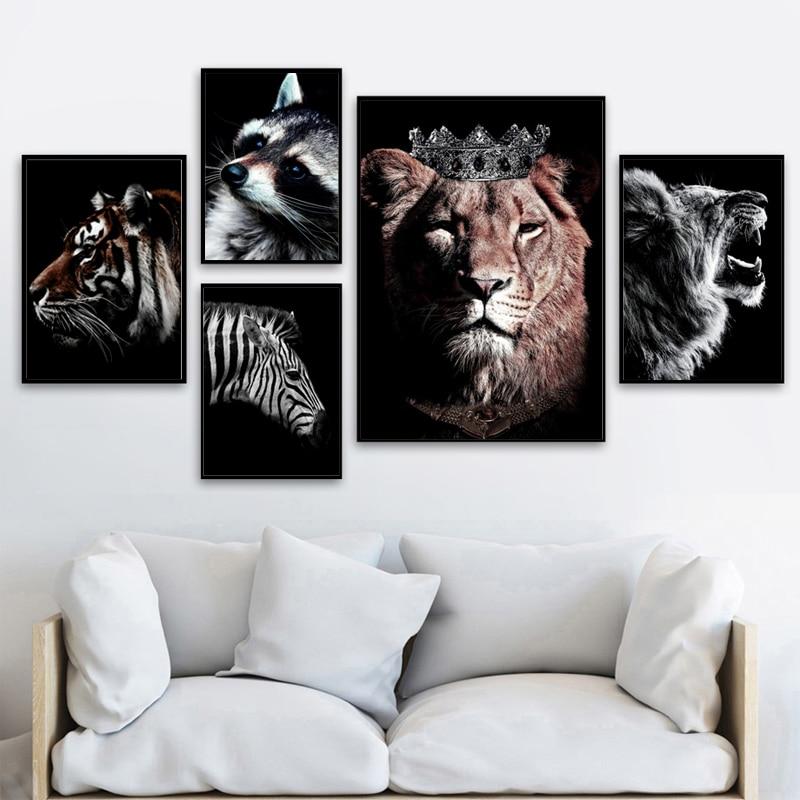 Tigre leopardo cebra Toro León pared arte lienzo pintura cartel nórdico e impresiones animal pared cuadro para sala de estar decoración del hogar