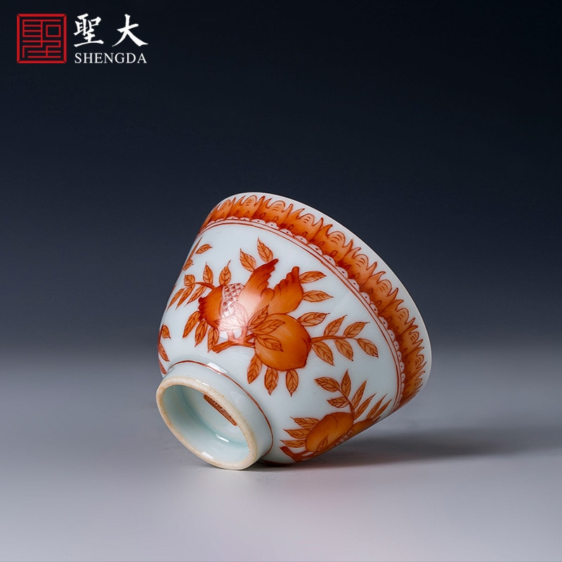 Shengda السيراميك كوب شاي الكونغفو كوب الشاي رسمت باليد الشب اللون الأحمر واندو ماستر كوب جينغدتشن طقم شاي اليدوية