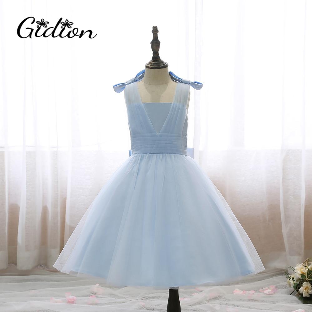 2020 Spring Summer Girl Dress Sleeveless Bow Shoulder Fluffy Girls Mesh Blue Wedding Children Princess Banquet