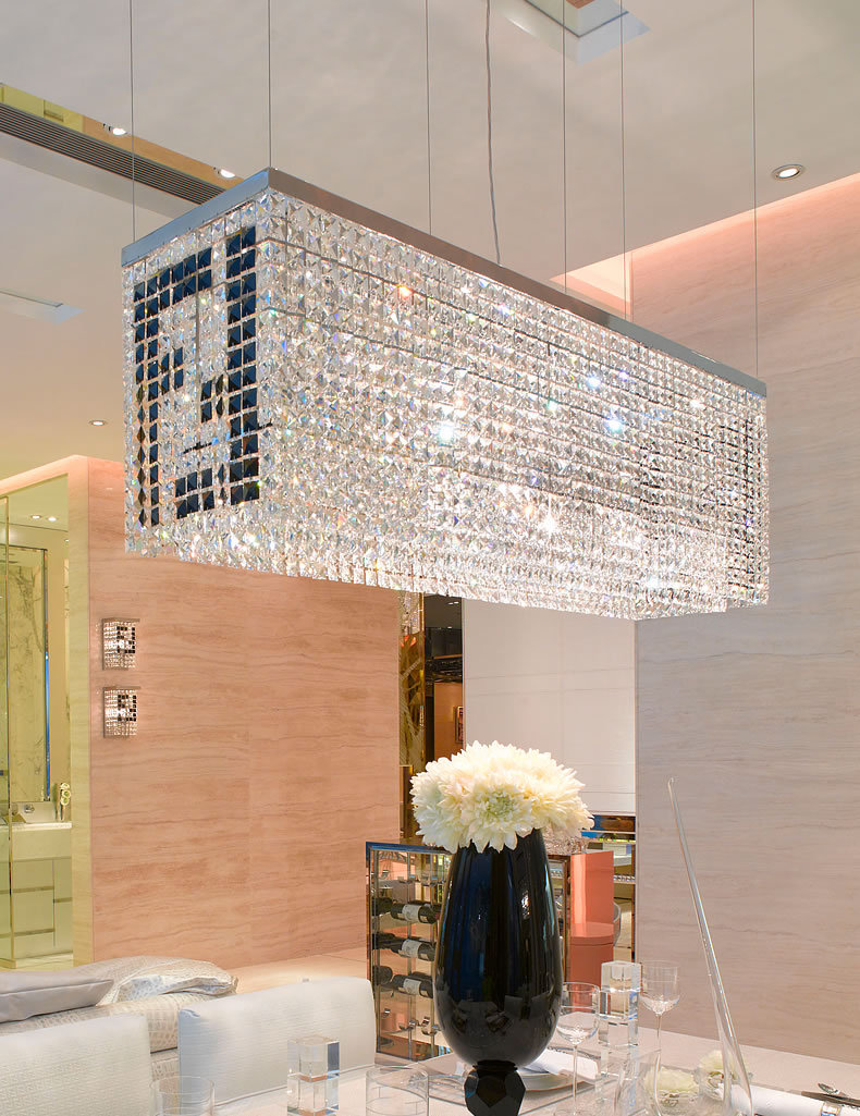 Lámpara de araña Rectangular de cristal para comedor, accesorio de techo redondo,...