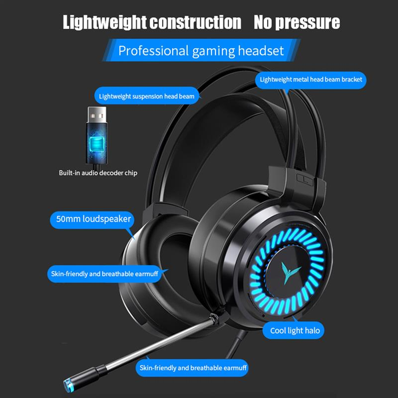 Professional Colourful Light Gaming Headsets Gamer Headphones 7.1 Channel Stereo USB Wired Earphones Game Headset For PS5 PS4 PC enlarge