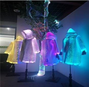 Optical fiber science fiction dream of bright clothes of future soldiers