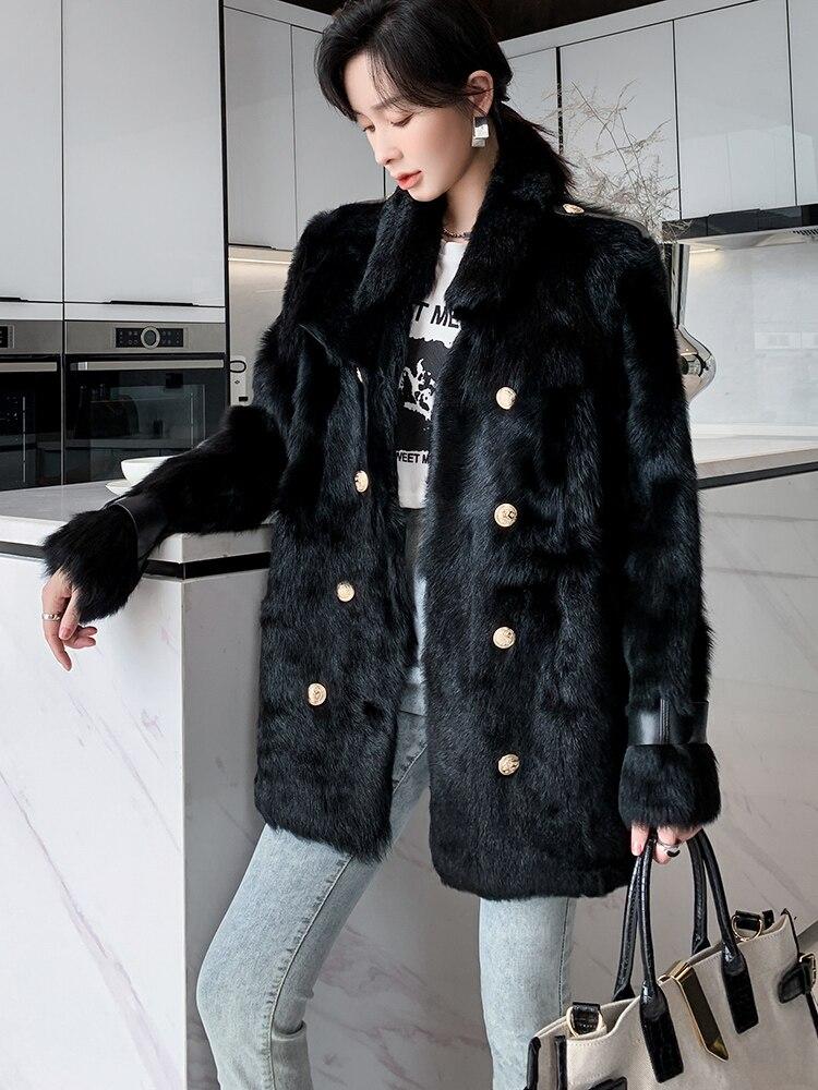 Зима 2021 импортное роскошное черное 100% тосканское меховое пальто женское Новое двубортное меховое пальто средней длины теплая Корейская ве...