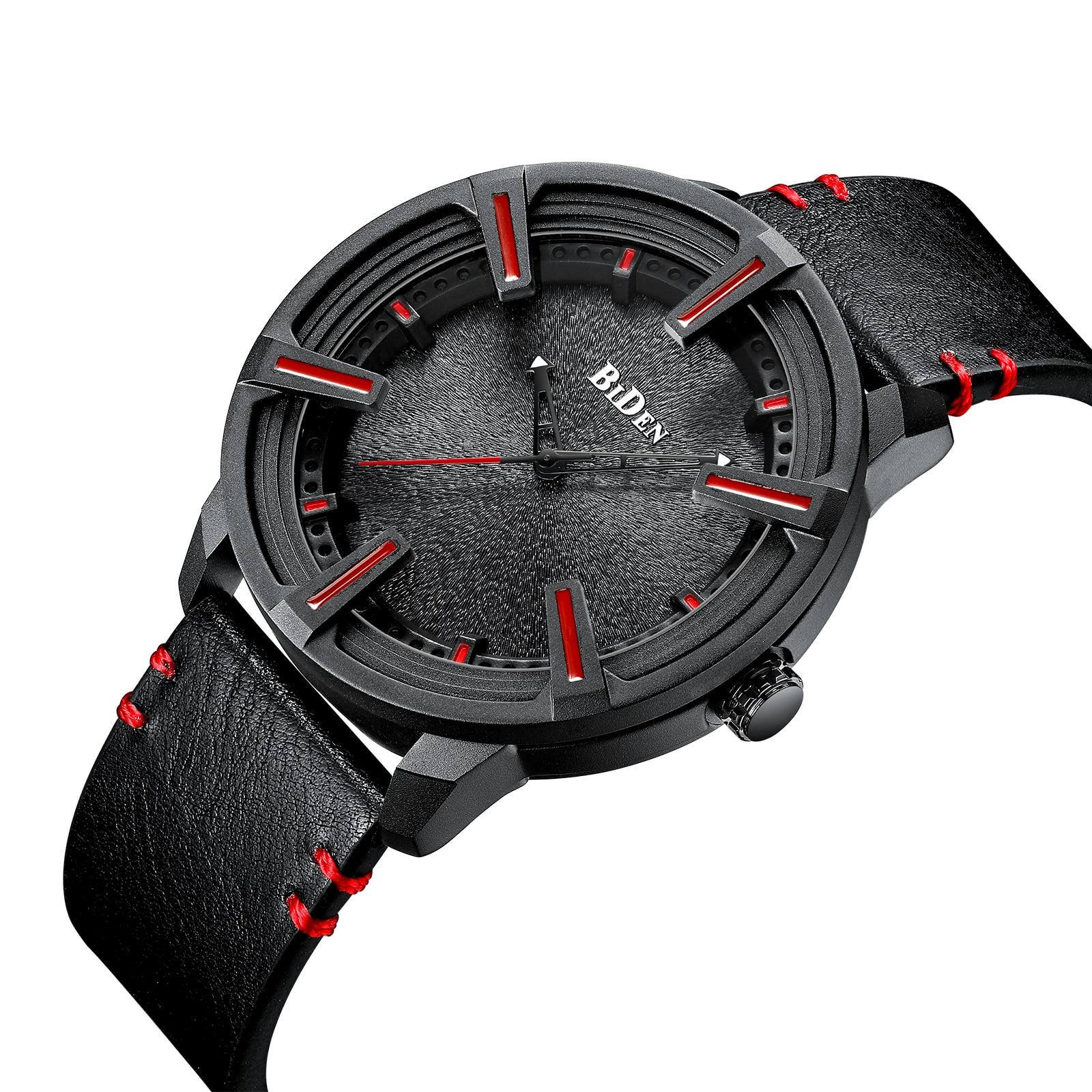 BIDEN Top Brand Watches Mens 2019 Orologio Uomo Black Leather Strap Casual Waterproof High Quality Relogio Masculino Man Clocks