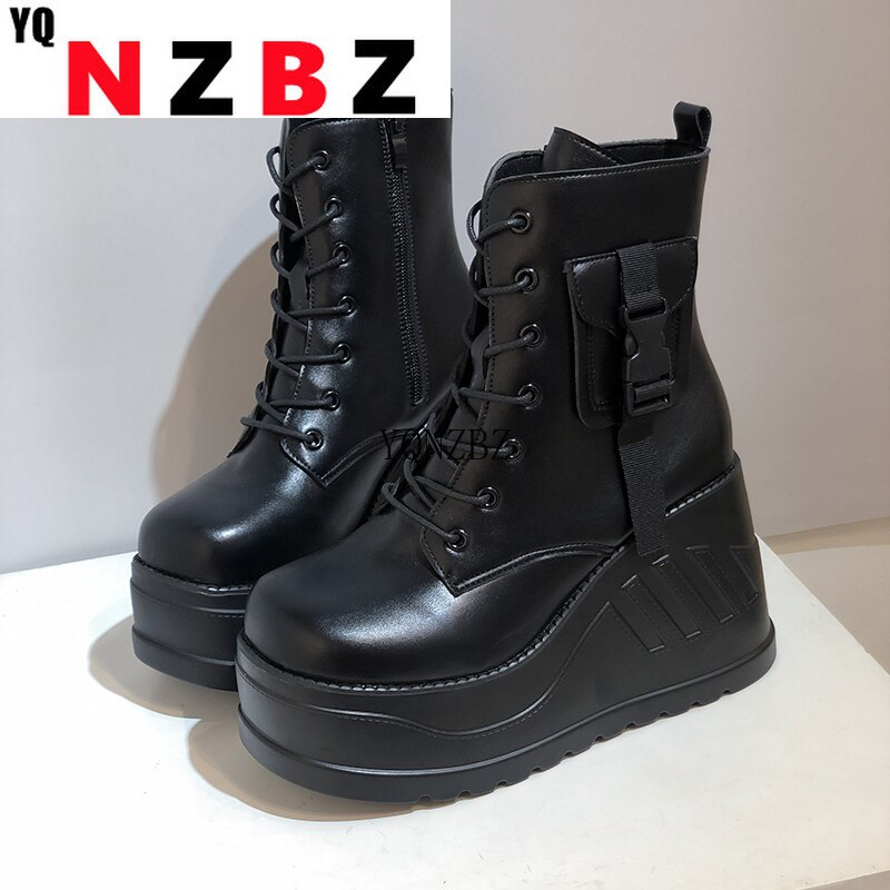 Women Boot Plus Size 43 Punk White Cosplay Boots Square Toe Platform Black Boots Fashion Lace Up Wed