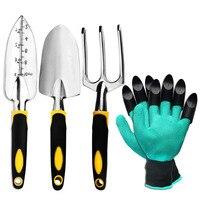 Garden Tool Set 4 Pack With Trowel Cultivator Hand Rake Transplant Trowel Gardening Gloves For Weeding Loosening Soil