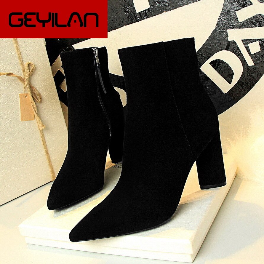HOT Woman Shoes Sexy Zip Up Square High Heels Party Women Boots Winter Top Quality