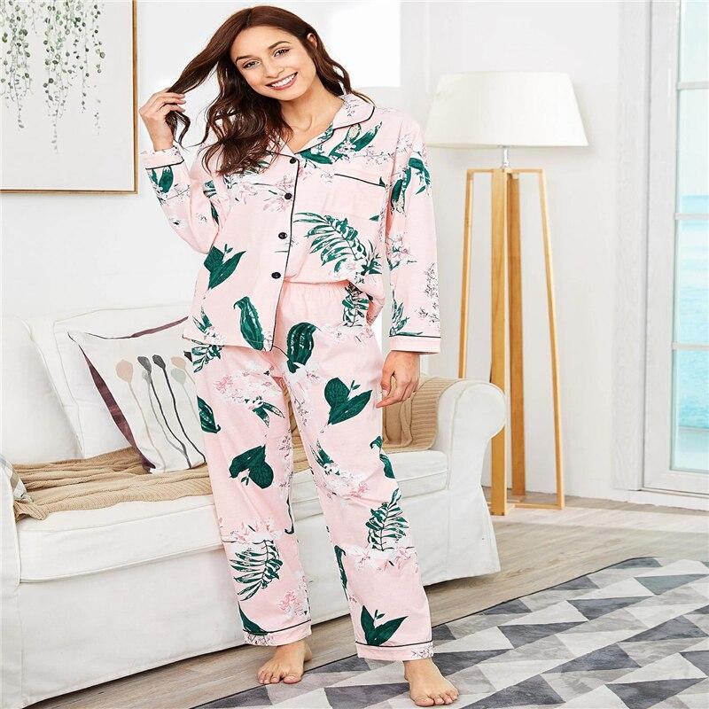 Summer Women Pajamas  Sets Polyester Cotton Sleepwear Suit Pyjamas Fabric Plant Printing Home Sleeve Pijama Comfortable Homewear