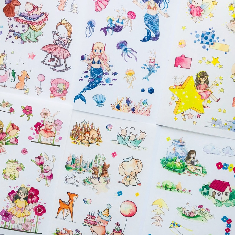 6 Sheets Fairy Tales Cartoon Animals Paper Sticker Adhesive Stick Label Hand Account Decoration hot sale forest animals happy daily life squirrel fox deer good friends party fairy cartoon tales pillow case