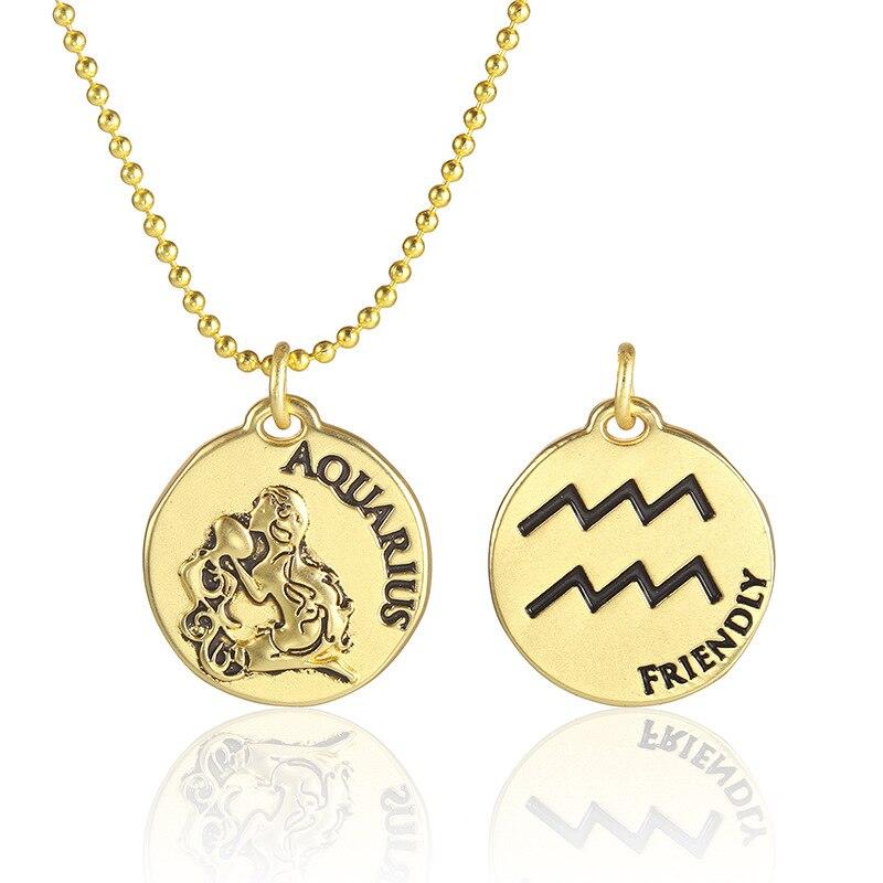 Collar del zodiaco para mujeres plateado horóscopo astrología Leo Virgo signo de dos lados redondo princesa joyería colgante de cadenas collares